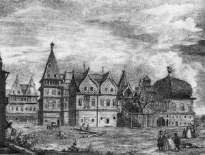 Дворец царя Алексея Михайловича в Коломенском. 1660-1670-е гг. Гравюра Ф. Гильфердинга. II половина XVIII в.